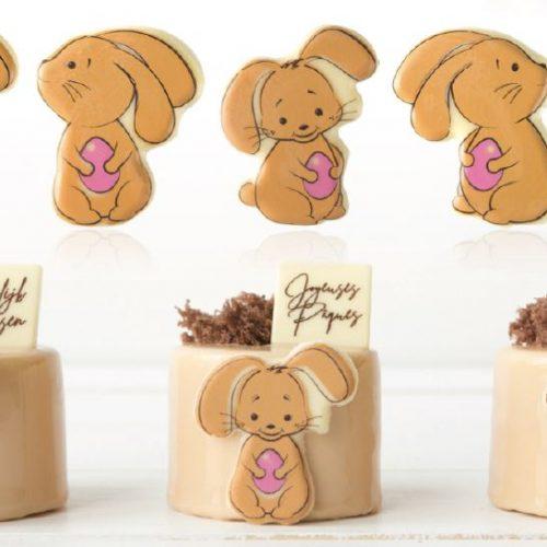 Gotove dekoracije belgiskom čokoladom. uskrsni zeko. čokoladne jestive dekoracije s uskrsnim motivima.