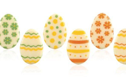 čokoladne jestive dekoracije s uskrsnim motivima.čokoladno jaje.